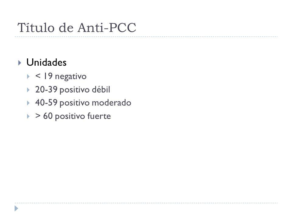 Título de Anti-PCC Unidades < 19 negativo 20-39 positivo débil 40-59 positivo moderado > 60 positivo fuerte