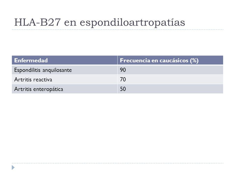 HLA-B27 en espondiloartropatías EnfermedadFrecuencia en caucásicos (%) Espondilitis anquilosante90 Artritis reactiva70 Artritis enteropática50
