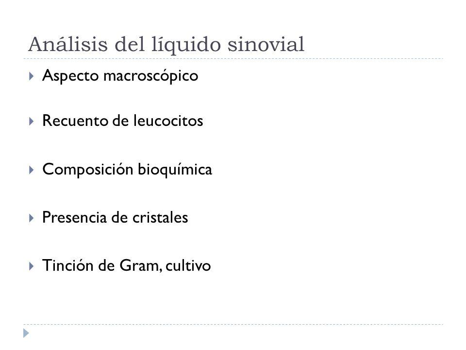 Análisis del líquido sinovial Aspecto macroscópico Recuento de leucocitos Composición bioquímica Presencia de cristales Tinción de Gram, cultivo