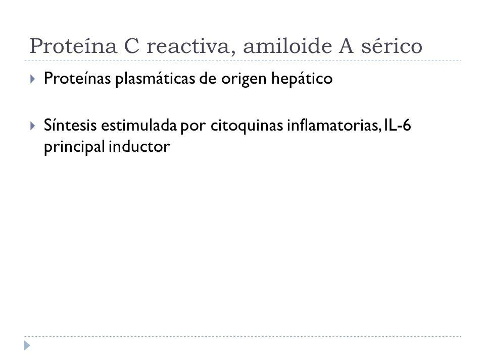 Proteína C reactiva, amiloide A sérico Proteínas plasmáticas de origen hepático Síntesis estimulada por citoquinas inflamatorias, IL-6 principal induc