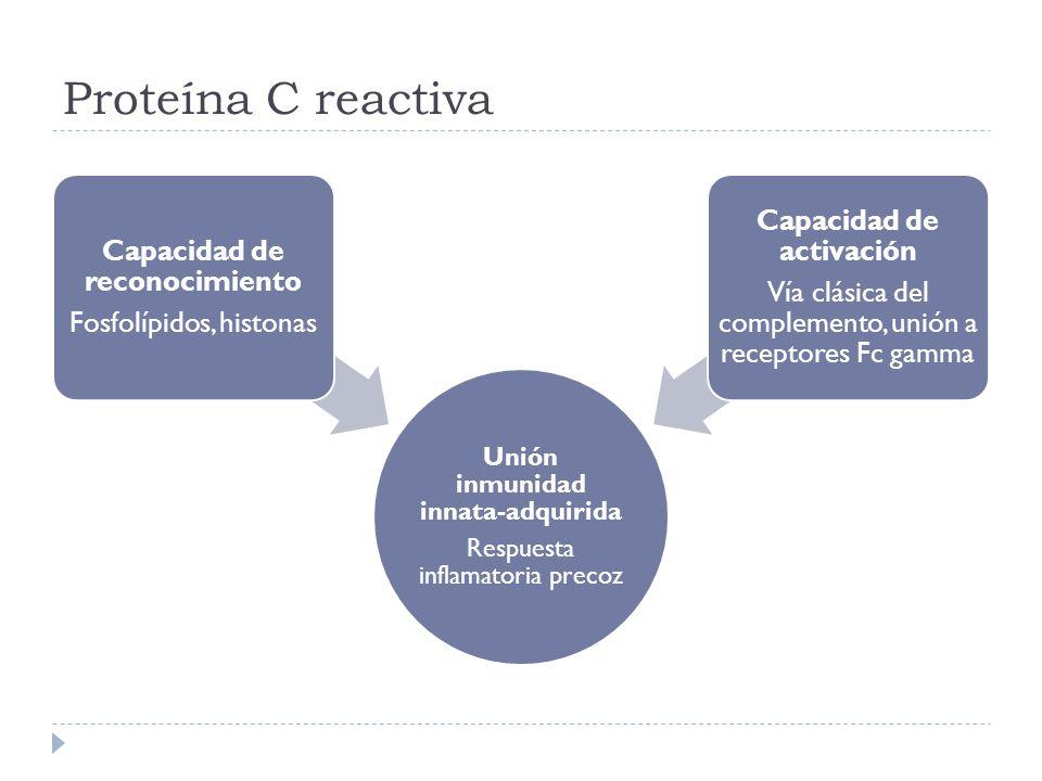 Proteína C reactiva Unión inmunidad innata-adquirida Respuesta inflamatoria precoz Capacidad de reconocimiento Fosfolípidos, histonas Capacidad de act