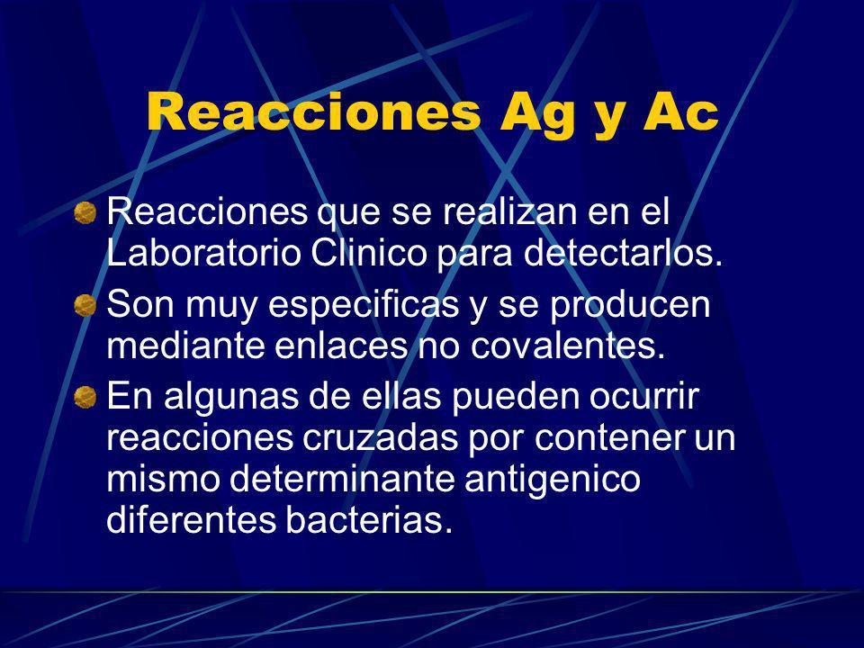 Reacciones Ag y Ac Reacciones que se realizan en el Laboratorio Clinico para detectarlos. Son muy especificas y se producen mediante enlaces no covale