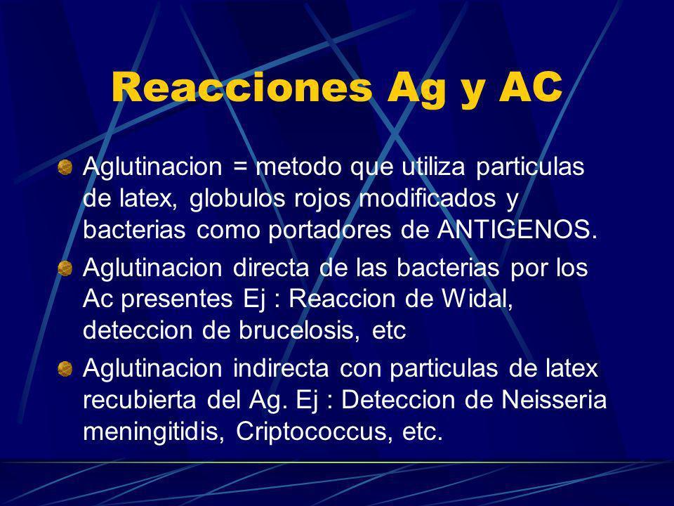 Reacciones Ag y AC Aglutinacion = metodo que utiliza particulas de latex, globulos rojos modificados y bacterias como portadores de ANTIGENOS. Aglutin