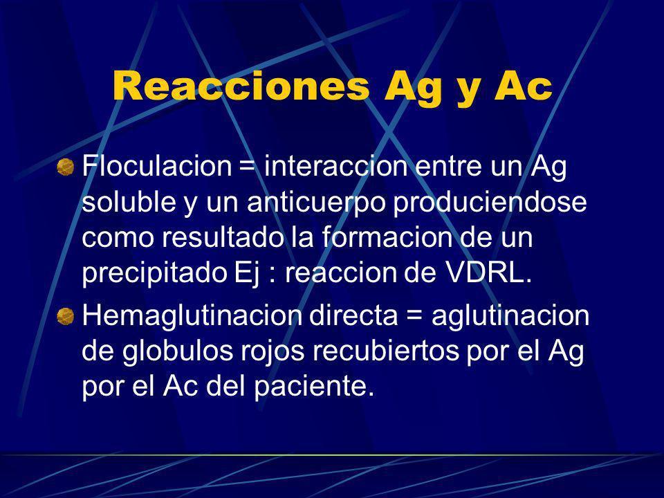 Reacciones Ag y Ac Floculacion = interaccion entre un Ag soluble y un anticuerpo produciendose como resultado la formacion de un precipitado Ej : reac
