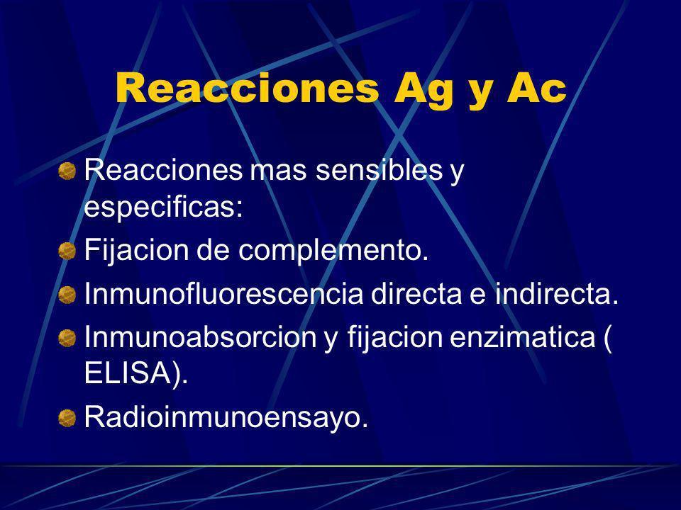 Reacciones Ag y Ac Reacciones mas sensibles y especificas: Fijacion de complemento. Inmunofluorescencia directa e indirecta. Inmunoabsorcion y fijacio