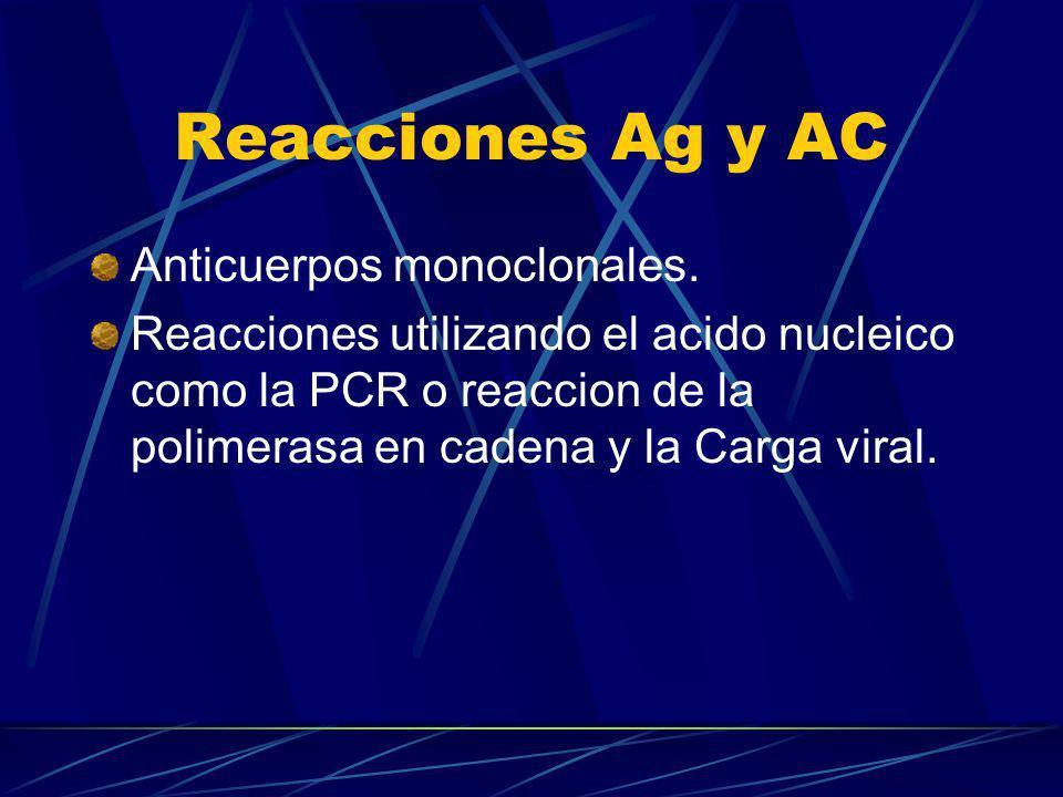 Reacciones Ag y AC Anticuerpos monoclonales. Reacciones utilizando el acido nucleico como la PCR o reaccion de la polimerasa en cadena y la Carga vira