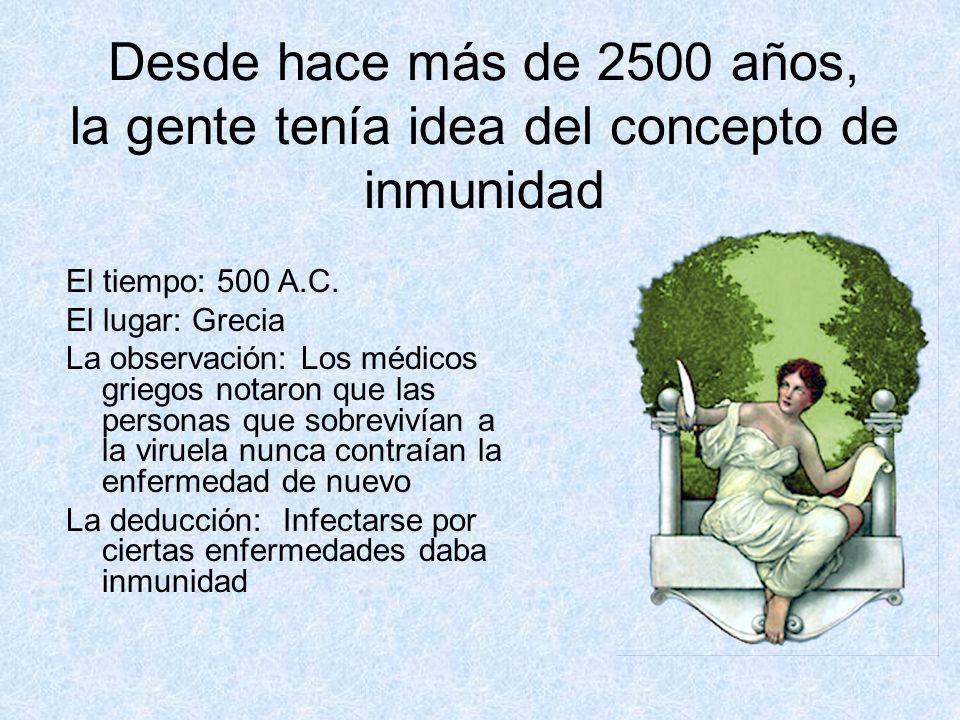 Desde hace más de 2500 años, la gente tenía idea del concepto de inmunidad El tiempo: 500 A.C. El lugar: Grecia La observación: Los médicos griegos no