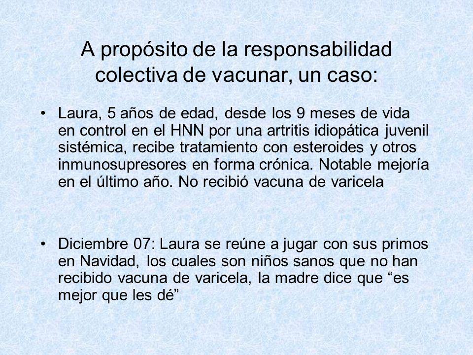 A propósito de la responsabilidad colectiva de vacunar, un caso: Laura, 5 años de edad, desde los 9 meses de vida en control en el HNN por una artriti