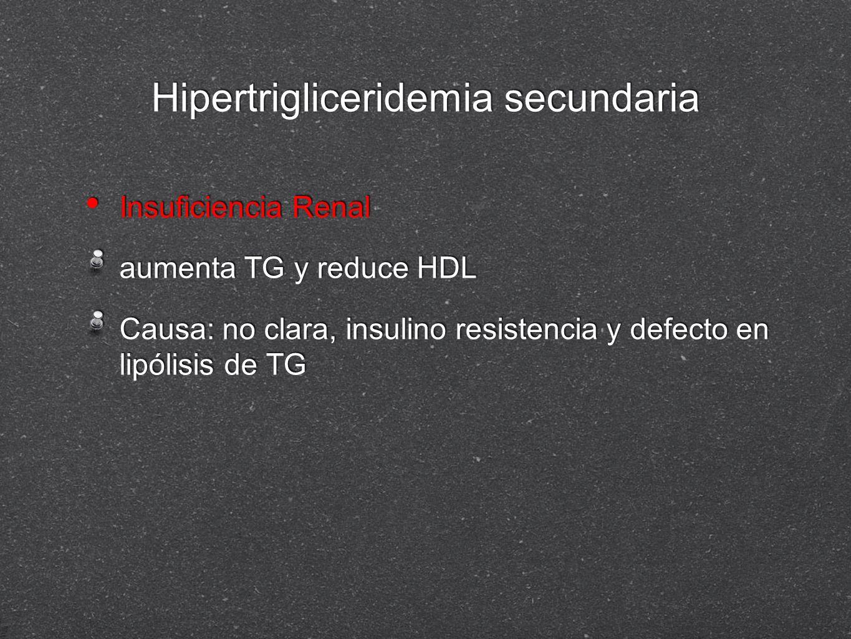 Hipertrigliceridemia secundaria Insuficiencia Renal aumenta TG y reduce HDL Causa: no clara, insulino resistencia y defecto en lipólisis de TG Insufic