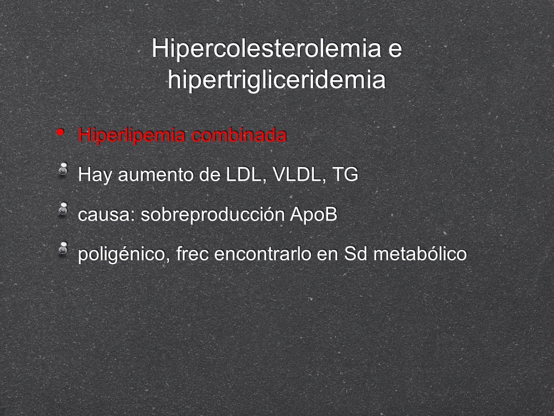 Hipercolesterolemia e hipertrigliceridemia Hiperlipemia combinada Hay aumento de LDL, VLDL, TG causa: sobreproducción ApoB poligénico, frec encontrarl