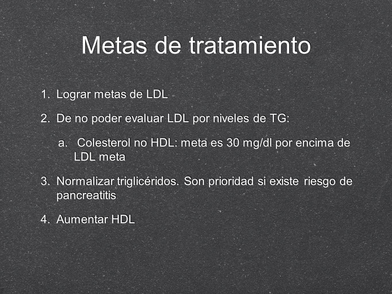 1. Lograr metas de LDL 2. De no poder evaluar LDL por niveles de TG: a. Colesterol no HDL: meta es 30 mg/dl por encima de LDL meta 3. Normalizar trigl