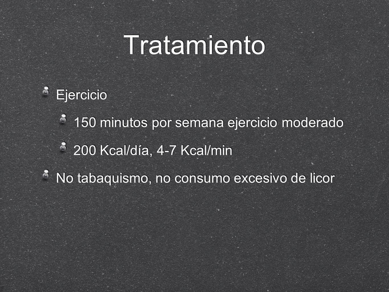 Tratamiento Ejercicio 150 minutos por semana ejercicio moderado 200 Kcal/día, 4-7 Kcal/min No tabaquismo, no consumo excesivo de licor Ejercicio 150 m