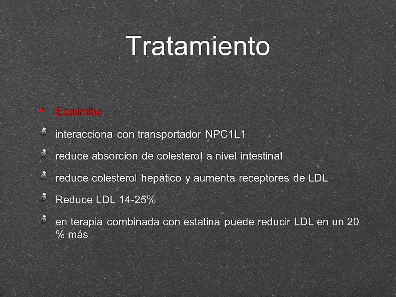 Tratamiento Ezetimibe interacciona con transportador NPC1L1 reduce absorcion de colesterol a nivel intestinal reduce colesterol hepático y aumenta rec