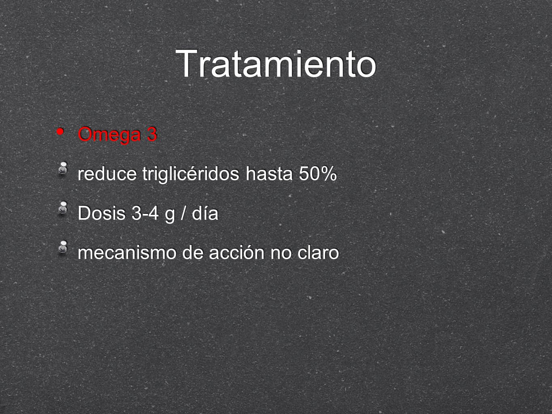Tratamiento Omega 3 reduce triglicéridos hasta 50% Dosis 3-4 g / día mecanismo de acción no claro Omega 3 reduce triglicéridos hasta 50% Dosis 3-4 g /