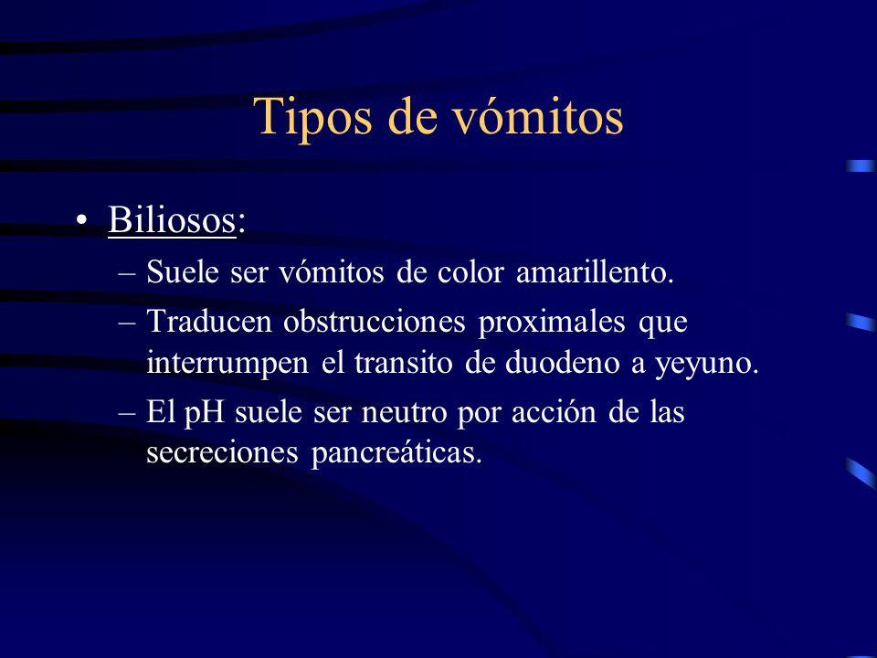 Tipos de Vómitos Sanguinolentos: –Suelen presentarse por erosión de la mucosa. –Los vómitos suelen ser de sangre rutilante (por sangrado activo). –Bro