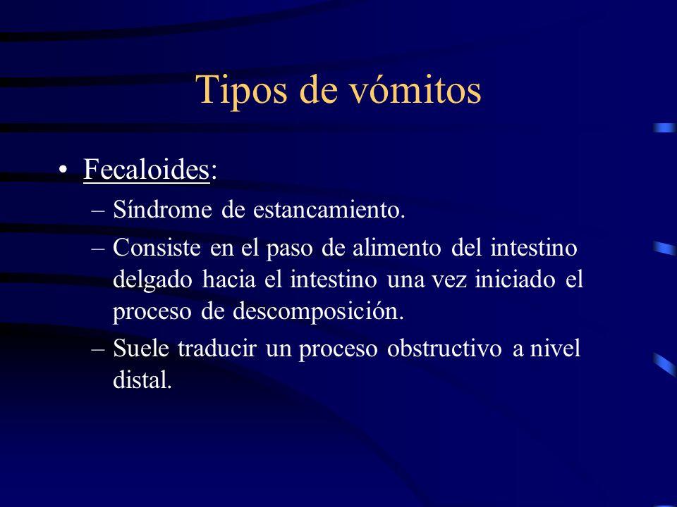 Tipos de vómitos Biliosos: –Suele ser vómitos de color amarillento. –Traducen obstrucciones proximales que interrumpen el transito de duodeno a yeyuno