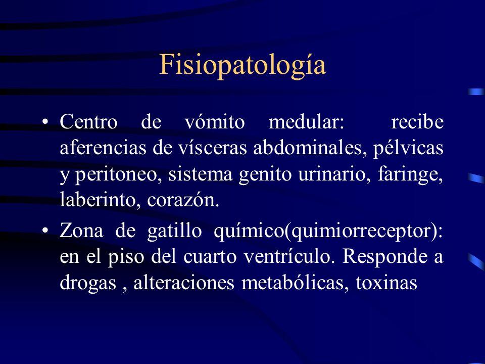 Tipos de vómitos Fecaloides: –Síndrome de estancamiento. –Consiste en el paso de alimento del intestino delgado hacia el intestino una vez iniciado el