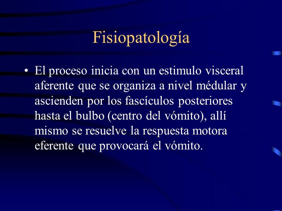 Fisiopatología Centros de control del vómito: –Centro médular : Recibe estímulos aferentes de: faringe, órganos abdominales, pélvicos, genito urinario