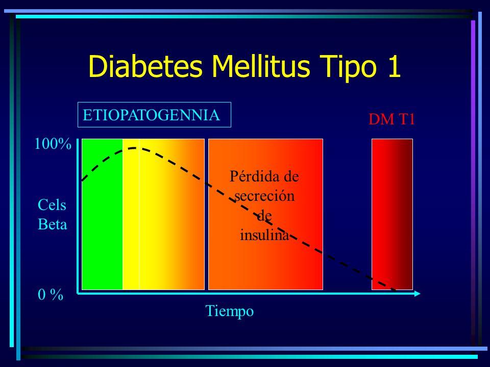 Diabetes Mellitus Tipo 1 ETIOPATOGENNIA 0 % 100% DM T1 Cels Beta Tiempo Pérdida de secreción de insulina