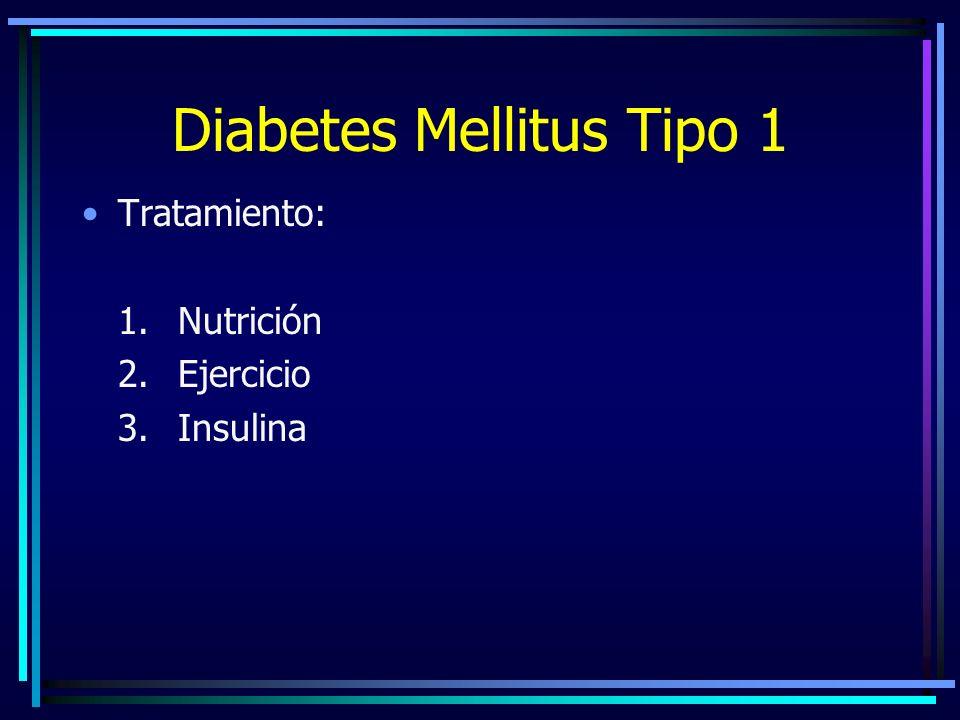 Diabetes Mellitus Tipo 1 Tratamiento: 1.Nutrición 2.Ejercicio 3.Insulina
