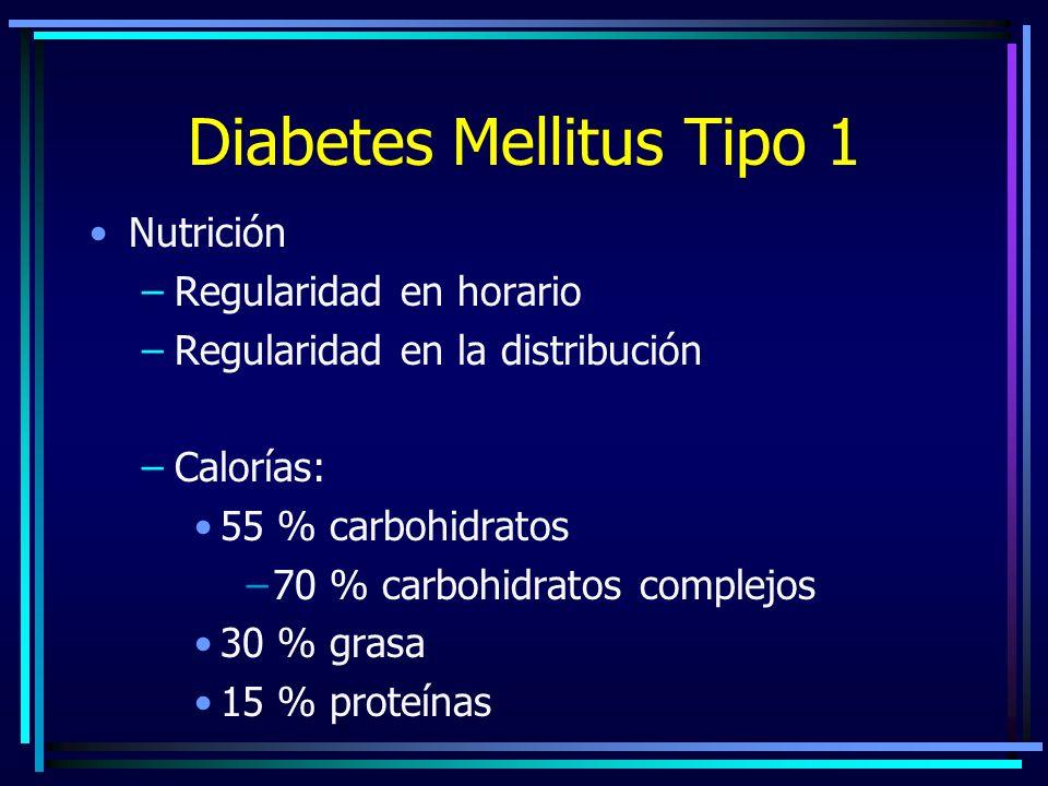 Diabetes Mellitus Tipo 1 Nutrición –Regularidad en horario –Regularidad en la distribución –Calorías: 55 % carbohidratos –70 % carbohidratos complejos 30 % grasa 15 % proteínas