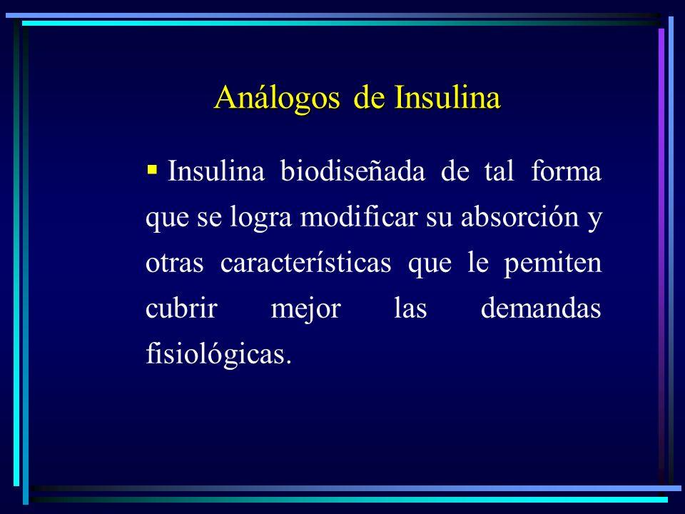 Análogos de Insulina Análogos de Insulina Insulina biodiseñada de tal forma que se logra modificar su absorción y otras características que le pemiten cubrir mejor las demandas fisiológicas.