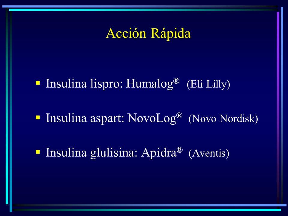 Acción Rápida Insulina lispro: Humalog ® (Eli Lilly) Insulina aspart: NovoLog ® (Novo Nordisk) Insulina glulisina: Apidra ® (Aventis)