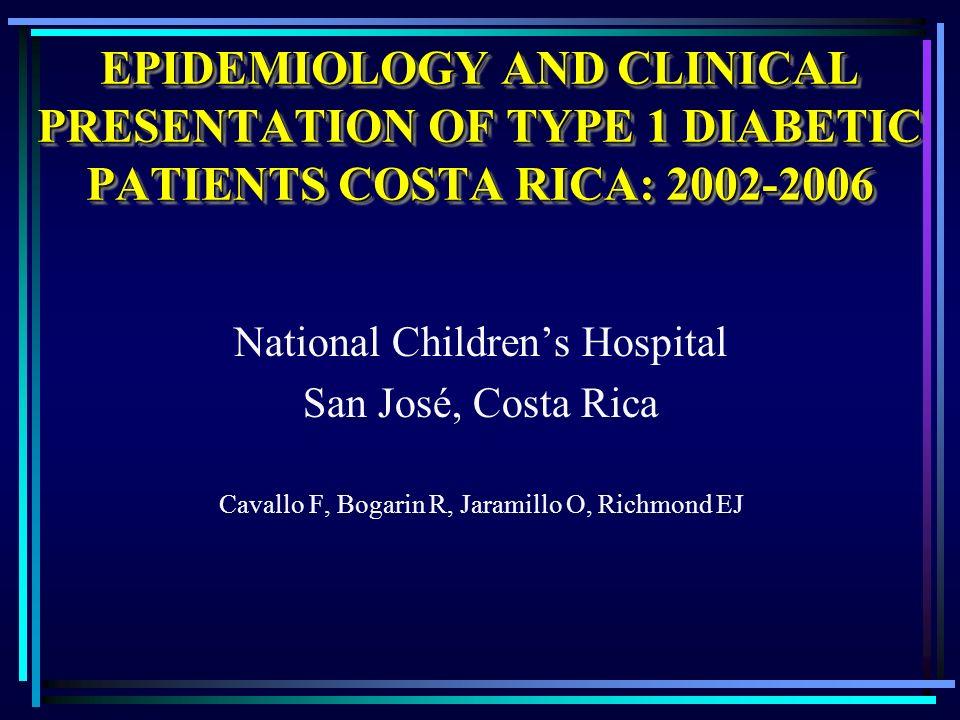 EPIDEMIOLOGY AND CLINICAL PRESENTATION OF TYPE 1 DIABETIC PATIENTS COSTA RICA: 2002-2006 National Childrens Hospital San José, Costa Rica Cavallo F, Bogarin R, Jaramillo O, Richmond EJ
