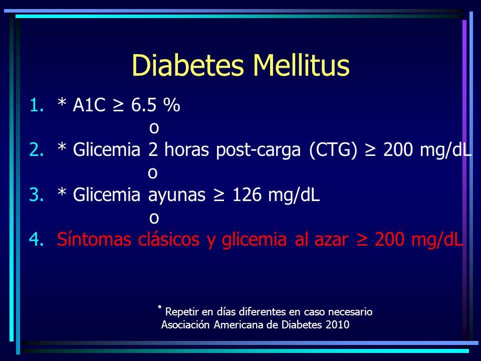 Diabetes Mellitus 1.* A1C 6.5 % o 2.* Glicemia 2 horas post-carga (CTG) 200 mg/dL o 3.* Glicemia ayunas 126 mg/dL o 4.Síntomas clásicos y glicemia al azar 200 mg/dL * Repetir en días diferentes en caso necesario Asociación Americana de Diabetes 2010