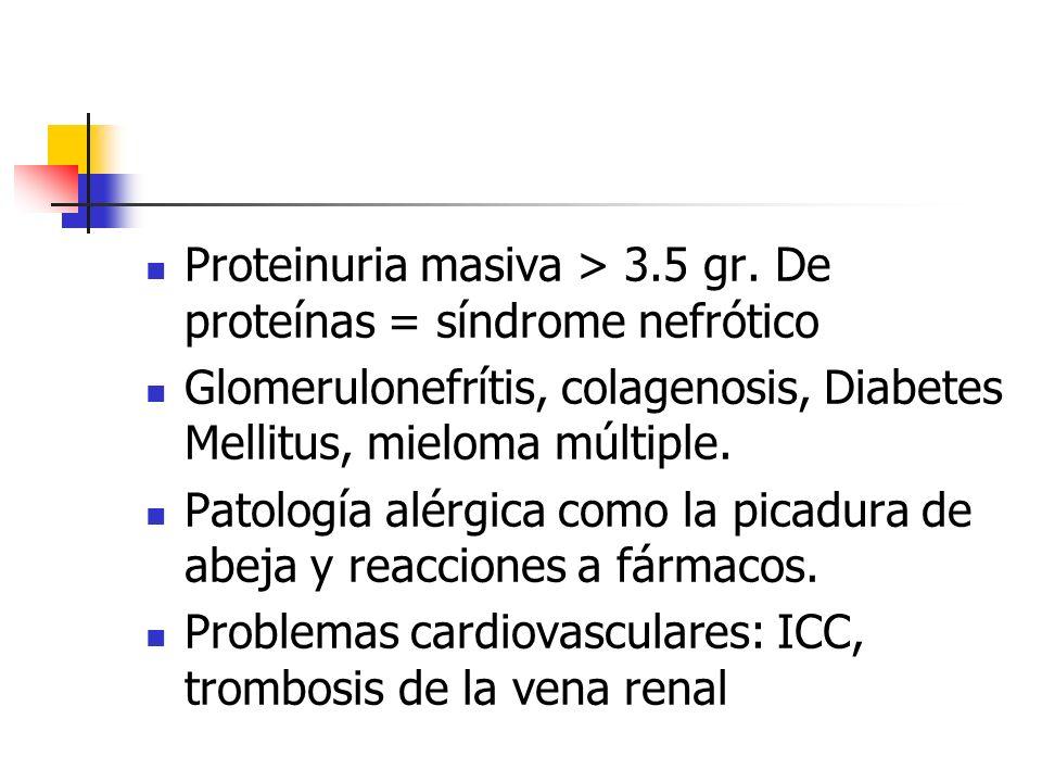 Proteinuria masiva > 3.5 gr. De proteínas = síndrome nefrótico Glomerulonefrítis, colagenosis, Diabetes Mellitus, mieloma múltiple. Patología alérgica