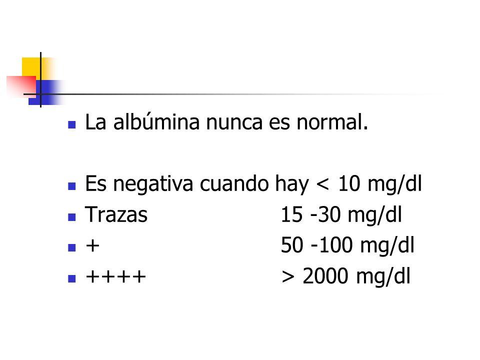 La albúmina nunca es normal. Es negativa cuando hay < 10 mg/dl Trazas 15 -30 mg/dl + 50 -100 mg/dl ++++ > 2000 mg/dl