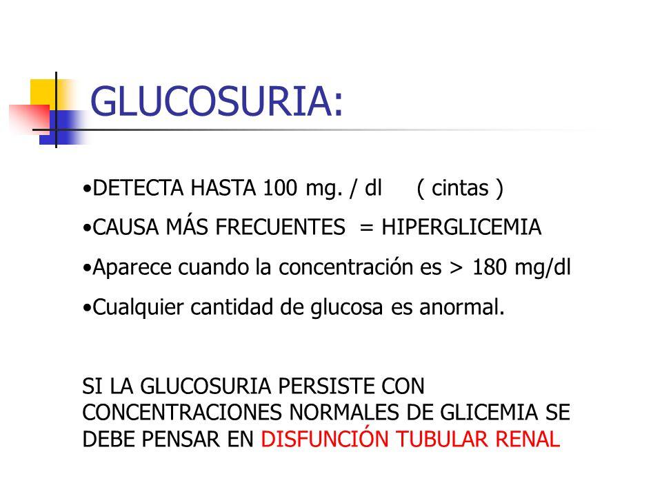 GLUCOSURIA: DETECTA HASTA 100 mg. / dl ( cintas ) CAUSA MÁS FRECUENTES = HIPERGLICEMIA Aparece cuando la concentración es > 180 mg/dl Cualquier cantid