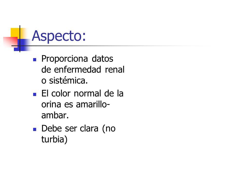 Aspecto: Proporciona datos de enfermedad renal o sistémica. El color normal de la orina es amarillo- ambar. Debe ser clara (no turbia)