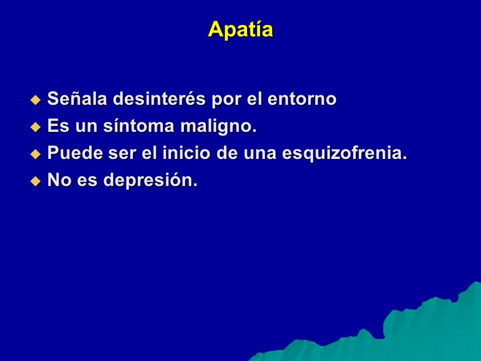 Apatía Señala desinterés por el entorno Señala desinterés por el entorno Es un síntoma maligno.