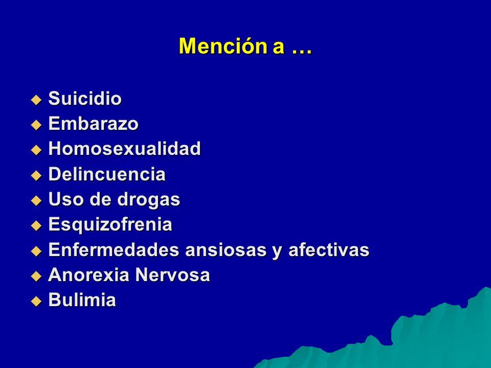 Mención a … Suicidio Suicidio Embarazo Embarazo Homosexualidad Homosexualidad Delincuencia Delincuencia Uso de drogas Uso de drogas Esquizofrenia Esquizofrenia Enfermedades ansiosas y afectivas Enfermedades ansiosas y afectivas Anorexia Nervosa Anorexia Nervosa Bulimia Bulimia