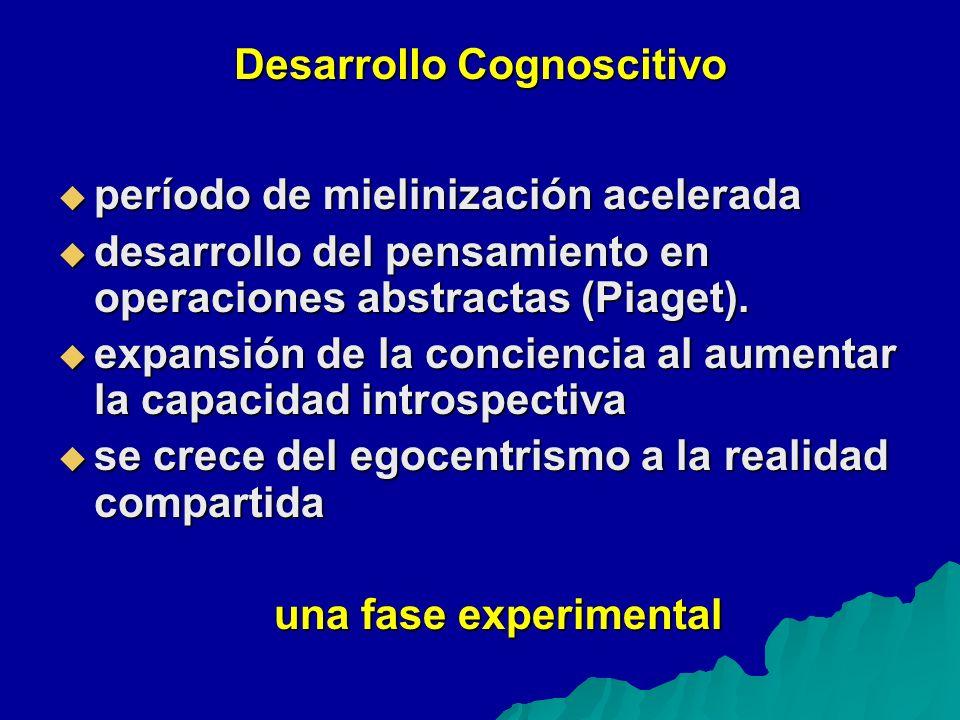 Desarrollo Cognoscitivo período de mielinización acelerada período de mielinización acelerada desarrollo del pensamiento en operaciones abstractas (Piaget).