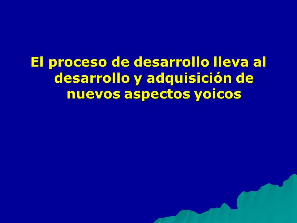 El proceso de desarrollo lleva al desarrollo y adquisición de nuevos aspectos yoicos