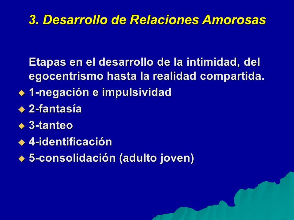 3. Desarrollo de Relaciones Amorosas Etapas en el desarrollo de la intimidad, del egocentrismo hasta la realidad compartida. 1-negación e impulsividad