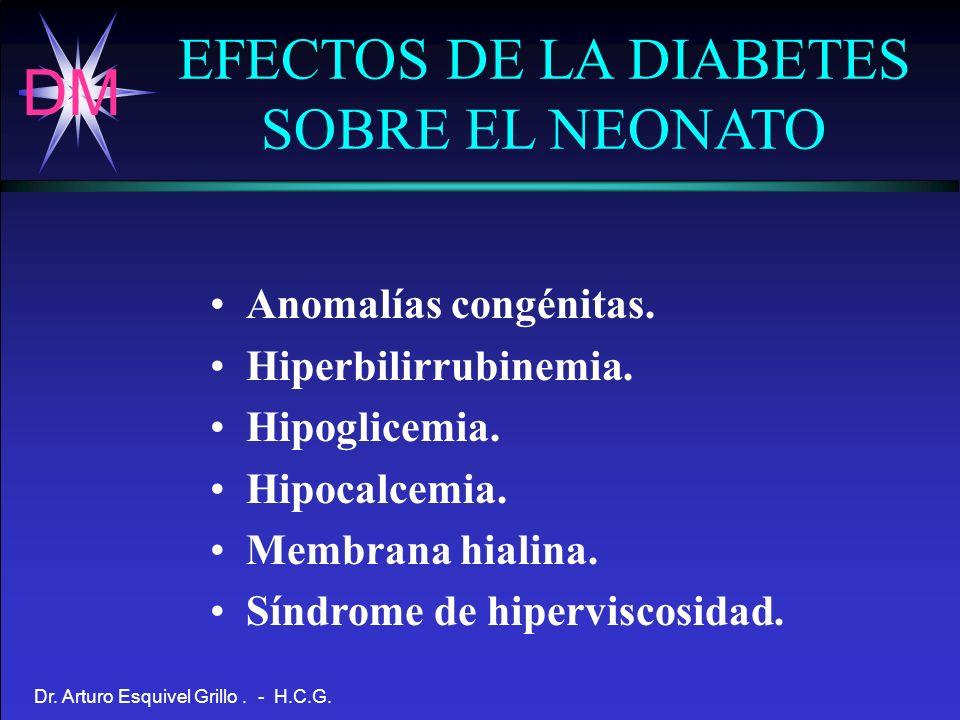 DM Dr. Arturo Esquivel Grillo. - H.C.G. EFECTOS DE LA DIABETES SOBRE EL NEONATO Anomalías congénitas. Hiperbilirrubinemia. Hipoglicemia. Hipocalcemia.