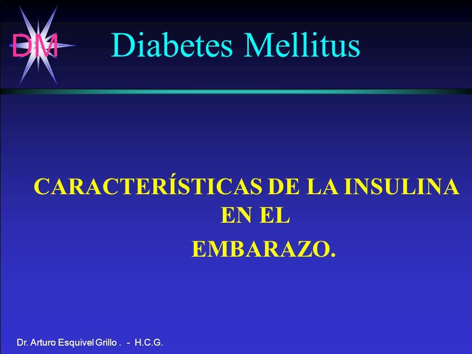 DM Dr. Arturo Esquivel Grillo. - H.C.G. CARACTERÍSTICAS DE LA INSULINA EN EL EMBARAZO. Diabetes Mellitus