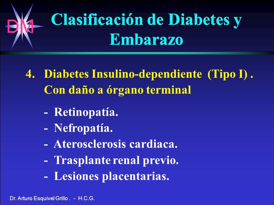 DM Dr. Arturo Esquivel Grillo. - H.C.G. Clasificación de Diabetes y Embarazo 4. Diabetes Insulino-dependiente (Tipo I). Con daño a órgano terminal - R