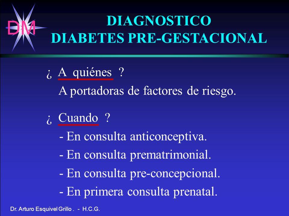 DM Dr. Arturo Esquivel Grillo. - H.C.G. DIAGNOSTICO DIABETES PRE-GESTACIONAL ¿ A quiénes ? A portadoras de factores de riesgo. ¿ Cuando ? - En consult