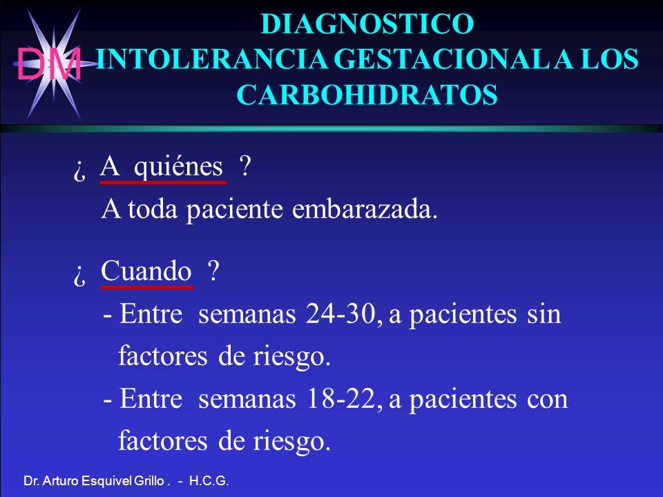 DM Dr. Arturo Esquivel Grillo. - H.C.G. DIAGNOSTICO INTOLERANCIA GESTACIONAL A LOS CARBOHIDRATOS ¿ A quiénes ? A toda paciente embarazada. ¿ Cuando ?