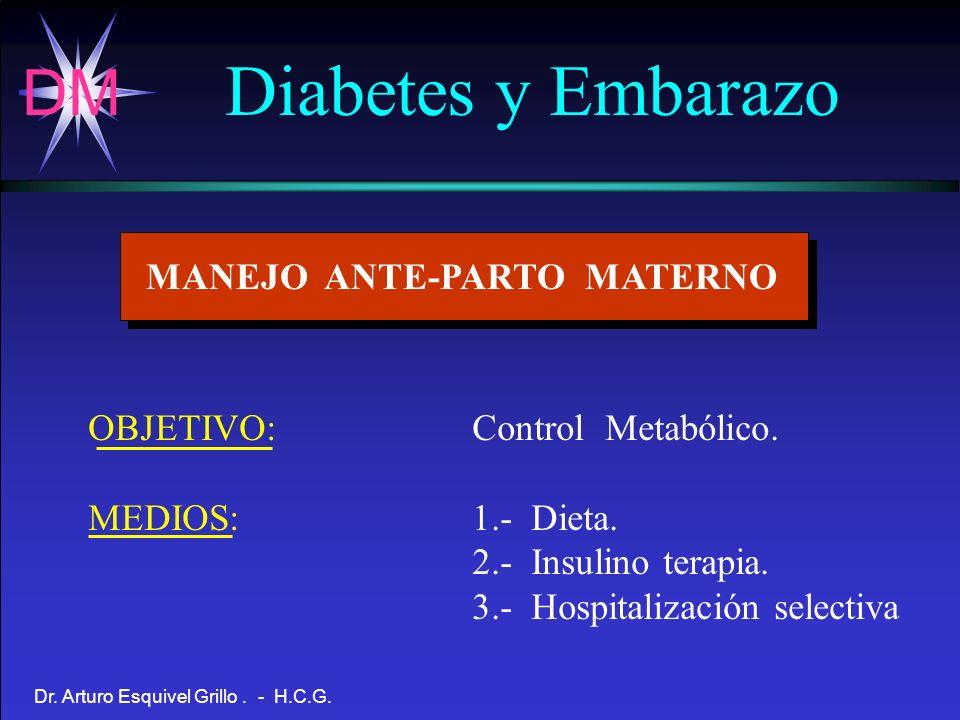 DM Dr. Arturo Esquivel Grillo. - H.C.G. Diabetes y Embarazo MANEJO ANTE-PARTO MATERNO OBJETIVO:Control Metabólico. MEDIOS:1.- Dieta. 2.- Insulino tera