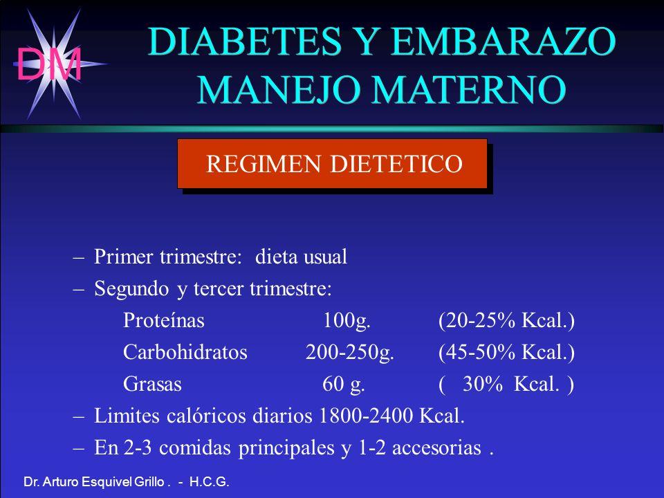 DM Dr. Arturo Esquivel Grillo. - H.C.G. DIABETES Y EMBARAZO MANEJO MATERNO DIABETES Y EMBARAZO MANEJO MATERNO REGIMEN DIETETICO –Primer trimestre: die