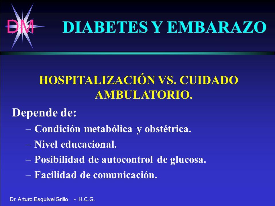 DM Dr. Arturo Esquivel Grillo. - H.C.G. DIABETES Y EMBARAZO HOSPITALIZACIÓN VS. CUIDADO AMBULATORIO. Depende de: –Condición metabólica y obstétrica. –