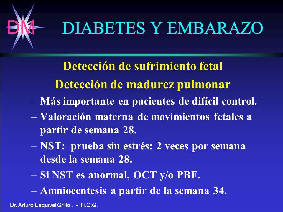 DM Dr. Arturo Esquivel Grillo. - H.C.G. DIABETES Y EMBARAZO Detección de sufrimiento fetal Detección de madurez pulmonar –Más importante en pacientes