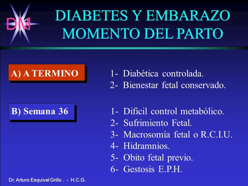 DM Dr. Arturo Esquivel Grillo. - H.C.G. DIABETES Y EMBARAZO MOMENTO DEL PARTO DIABETES Y EMBARAZO MOMENTO DEL PARTO A) A TERMINO1- Diabética controlad