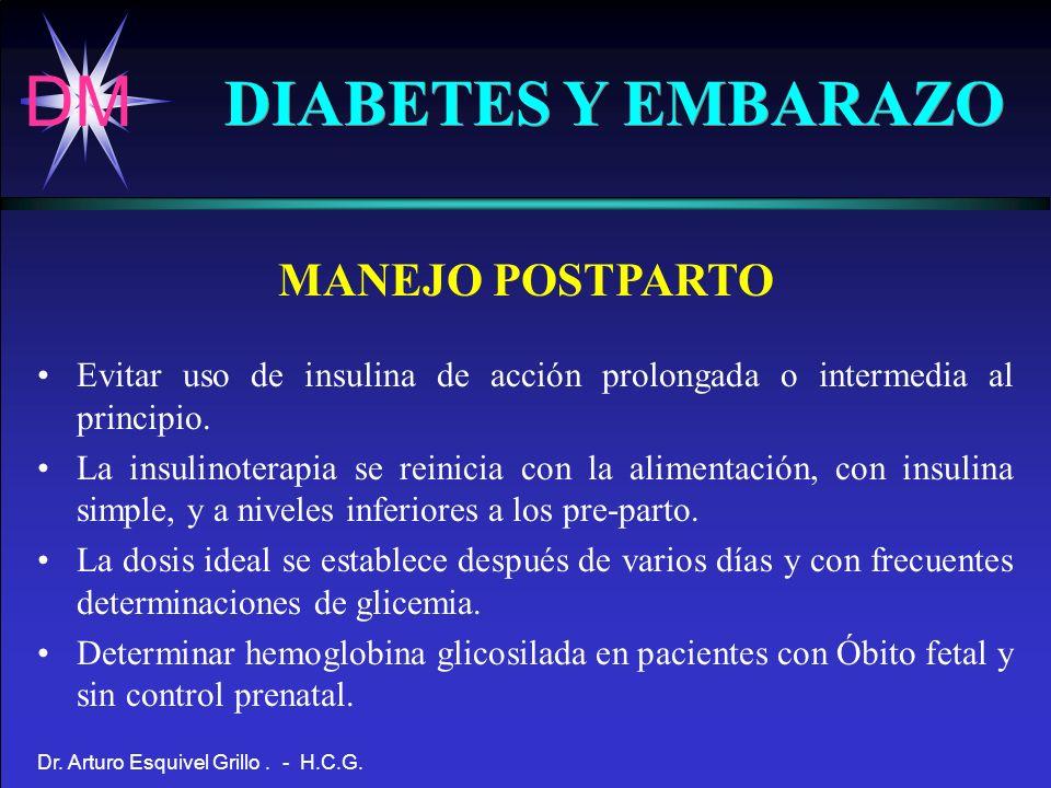 DM Dr. Arturo Esquivel Grillo. - H.C.G. DIABETES Y EMBARAZO MANEJO POSTPARTO Evitar uso de insulina de acción prolongada o intermedia al principio. La