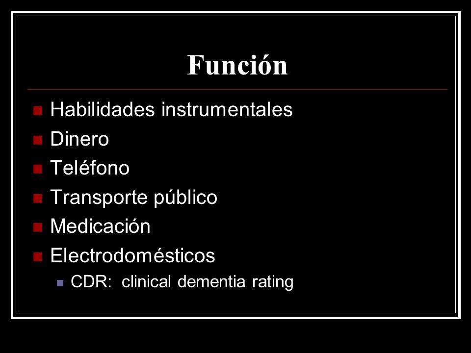 Función Habilidades instrumentales Dinero Teléfono Transporte público Medicación Electrodomésticos CDR: clinical dementia rating